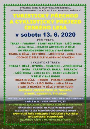 TURISTICKÝ PŘECHOD A CYKLISTICKÝ PŘEJEZD ČESKÉHO LESA, 13. 6. 2020